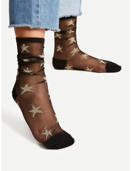 Star Pattern Mesh Ankle Socks by Sheinside