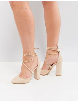 Truffle Collection Tie Up Block Heel Shoe by Shoes