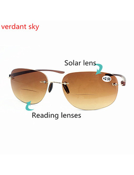Bifocal Reading Sun Glasses Presbyopic Men Rimless Magnifier Frame Glasses Driving Goggles Diopter  Oculos 100 Percents Anti Radiation by Verdant Sky Glasses Store