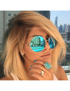 Designer Rose Gold Sunglasses Lady Cool Uv400 Women Sun Glasses Female Vintage Round Big  Victory Lip Oversized Lens Mirror Brand by Ali Express