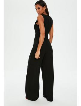 Black Wrap Front Sleeveless Wide Leg Jumpsuit by Missguided
