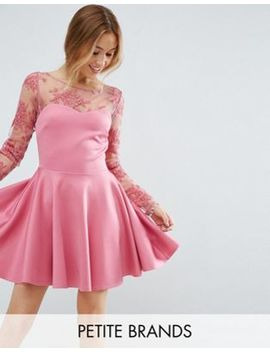 City Goddess Petite Lace Top Skater Dress by Dress