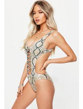 Grey Snake Print Extreme Cut Out Lace Up Swimsuit by Missguided