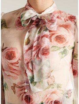 Rose Print Tie Neck Chiffon Blouse by Dolce & Gabbana