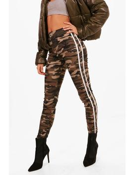 Bailey Camo Stripe Skinny Tube Jeans by Boohoo