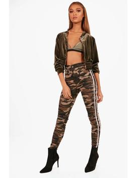 Bailey Camo Stripe Rip Knee Skinny Tube Jeans by Boohoo