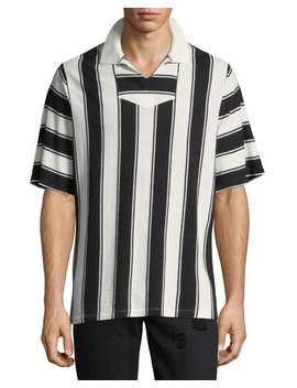 Striped Knitted Polo Shirt by Ovadia & Sons