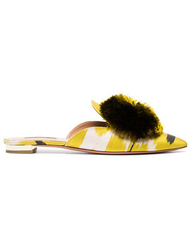 Lime Green Powder Puff Ikat Flats by Aquazzura