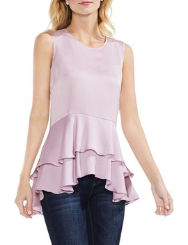 Sleeveless Tiered Ruffle Hem Satin Blouse by Vince Camuto