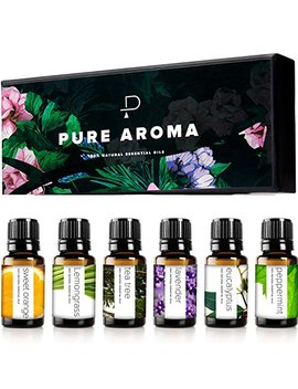 Essential Oils By Pure Aroma 100 Percents Pure Therapeutic Grade Oils Kit  Top 6 Aromatherapy Oils Gift Set 6 Pack, 10 Ml(Eucalyptus, Lavender, Lemon Grass, Orange, Peppermint, Tea Tree) by Pure Aroma