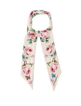 Skinny Rose Print Silk Twill Scarf by Dolce & Gabbana