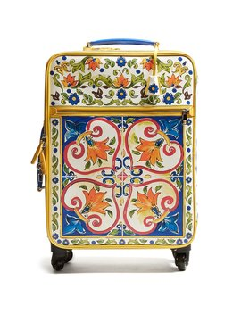 Majolica Print Leather Suitcase by Dolce &Amp; Gabbana