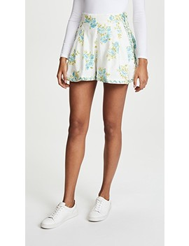 White Wave Honeymooners Shorts by Zimmermann