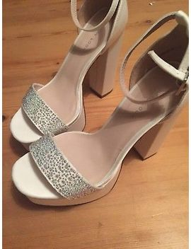 New Look White Bridal Platform Heel Shoes Sparkle Embellished Sandals Size 4 by New Look