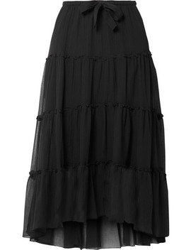 Tiered Cotton And Silk Blend Crepon Midi Skirt by See By Chloé