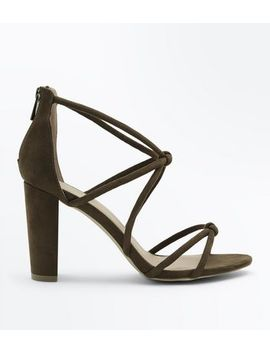 Khaki Suedette Knot Strappy Block Heels by New Look