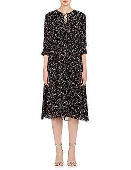 Floral Silk Crepe Lace Up Dress by Derek Lam 10 Crosby
