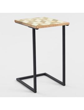 Herringbone Resin And Wood Laptop Table by World Market