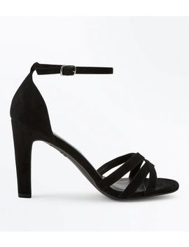 Black Suedette Slim Block Heel Strappy Sandals by New Look