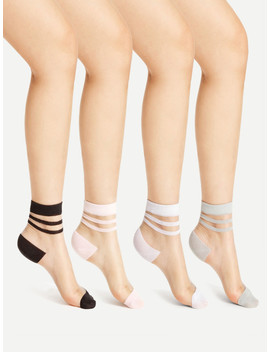 Striped Cuff Sheer Ankle Socks 4pairs by Sheinside