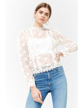 Sheer Mesh Embroidered Lace Top by Forever 21