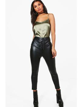 Rhea Lace Up Stretch Leather Look Skinny Trousers by Boohoo