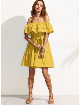 Self Tie Ladder Lace Insert Frill Bardot Dress by Shein