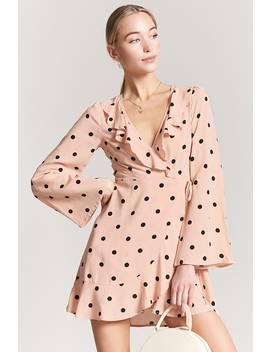 Polka Dot Ruffle Wrap Dress by F21 Contemporary