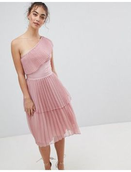 Glamorous One Shoulder Pleated Dress by Glamorous