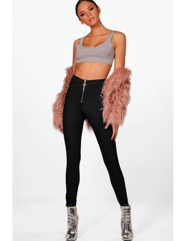 Lydia O Ring Zip Front Jeggings by Boohoo