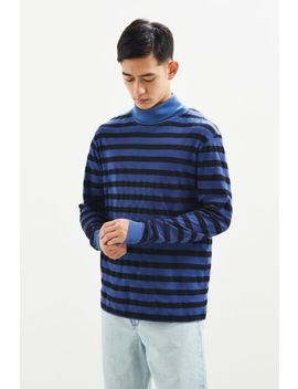 Uo Blue Striped Turtleneck Long Sleeve Shirt by Urban Outfitters