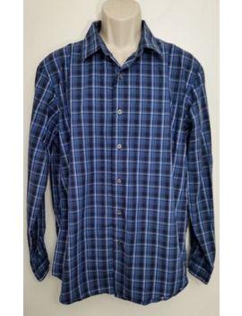 Apt 9 Mens Shirt Large Button Down Blue Plaid 100 Percents Cotton Long Sleeve by Apt. 9