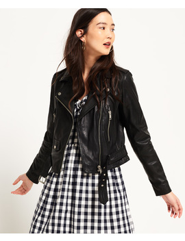 Tier Leather Biker Jacket by Superdry