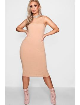 Plus Esther Square Neck Ribbed Midi Dress by Boohoo
