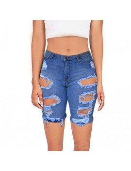Skyline Wears Womens Distressed Bermuda Casual Fashion Denim Stretchy Mid Rise Jeans Shorts Blue X Large by Skyline Wears