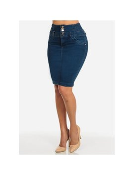 Womens Juniors Stretchy Denim Mid Waist Skirt W/ Back Slit 10989 R by Moda Xpress Online