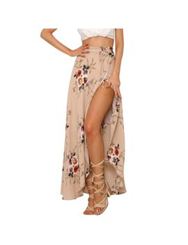 Nlife Women Floral Printed Asymmetric Split Tie Wrap Maxi Skirt by Nlife