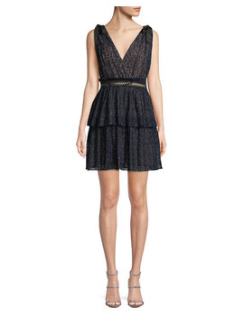 V Neck Sleeveless Metallic Mesh Cocktail Dress by Self Portrait