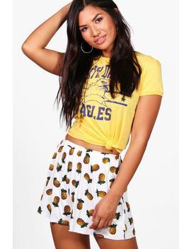 Pia Pineapple Print Flippy Shorts by Boohoo