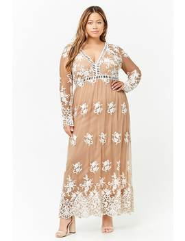 Plus Size Embroidered Lace Maxi Dress by F21 Contemporary