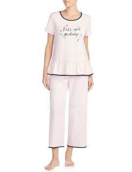 Kiss & Makeup Crop Jersey Pajamas by Kate Spade New York