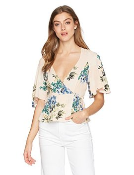 Astr The Label Women's Payton Short Sleeve Floral Wrap Top by Astr The Label