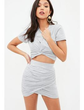 Petite Gray Tie Front Cropped T Shirt by Missguided