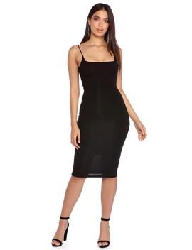 Black Straight Edge Midi Dress by Windsor