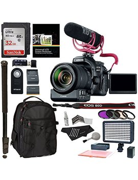 Canon Eos 80 D Video Creator Kit With Ef S 18 135mm Is Usm Lens, Rode Microphone, Power Zoom Adapter, Sandisk 32 Gb, Led Light Kit And Accessory Bundle by Ritz Camera