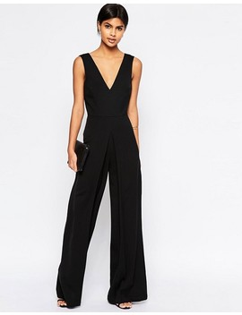 Asos V Neck Jumpsuit In Wide Leg With Pleat by Asos Collection