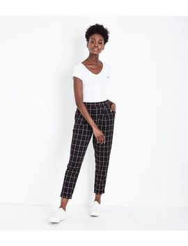 Black Wide Check Jersey Tapered Trousers by New Look