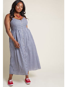 Quite Clearly Charismatic Maxi Dress In Navy Gingham In M Quite Clearly Charismatic Maxi Dress In Navy Gingham In M by Modcloth