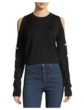 Veda Crewneck Cold Shoulder Button Sleeve Wool Sweater by Neiman Marcus