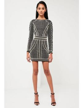 Peace + Love Black Embellished Long Sleeve Dress by Missguided